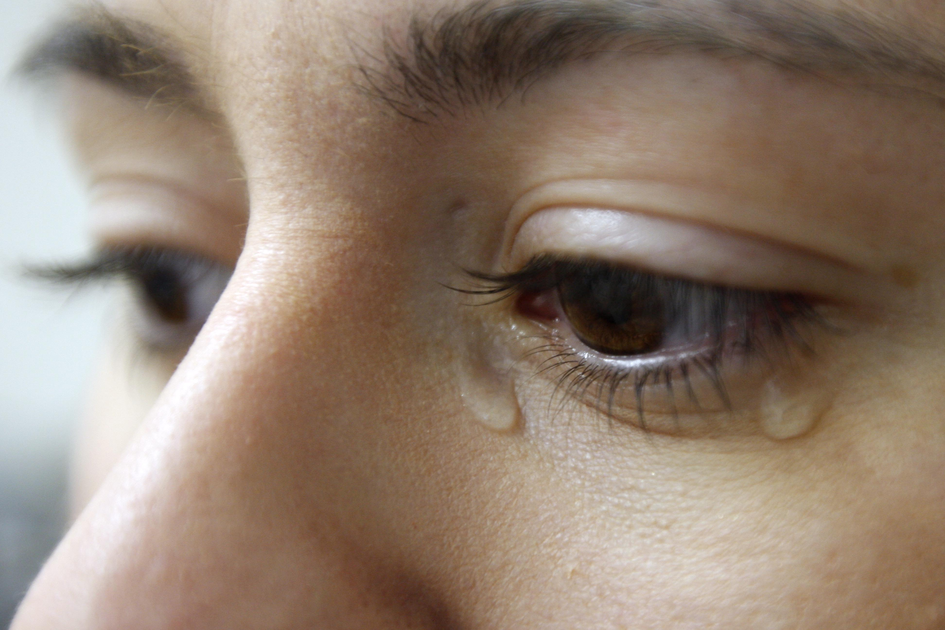 woman with tears in eyes